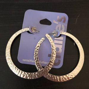 New Claire's Silver Hammered Hoops